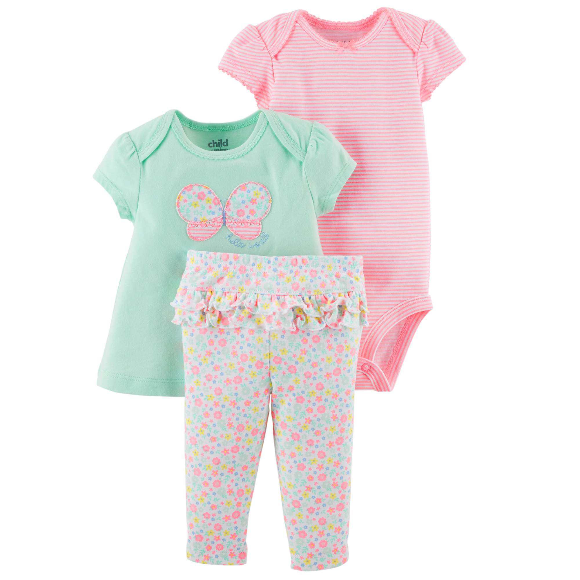 Baby Girl Swing Shirt, Bodysuit, and Pants, 3pc Outfit Set