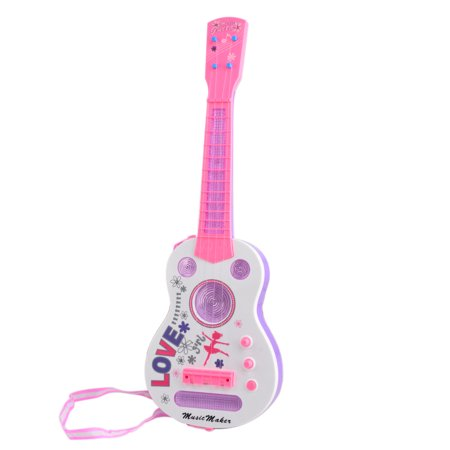 - Simulation 4 String Flash Mini Guitar Kids Musical Instruments Educational Toy - Pink