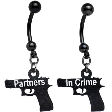 Body Candy Handcrafted Black Anodized Partners in Crime Best Friends Dangle Belly Ring