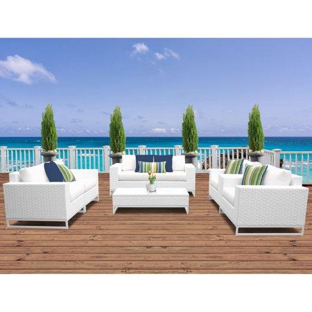 TK Classics Miami Wicker 7 Piece Loveseat Patio Conversation Set with Club Chairs ()
