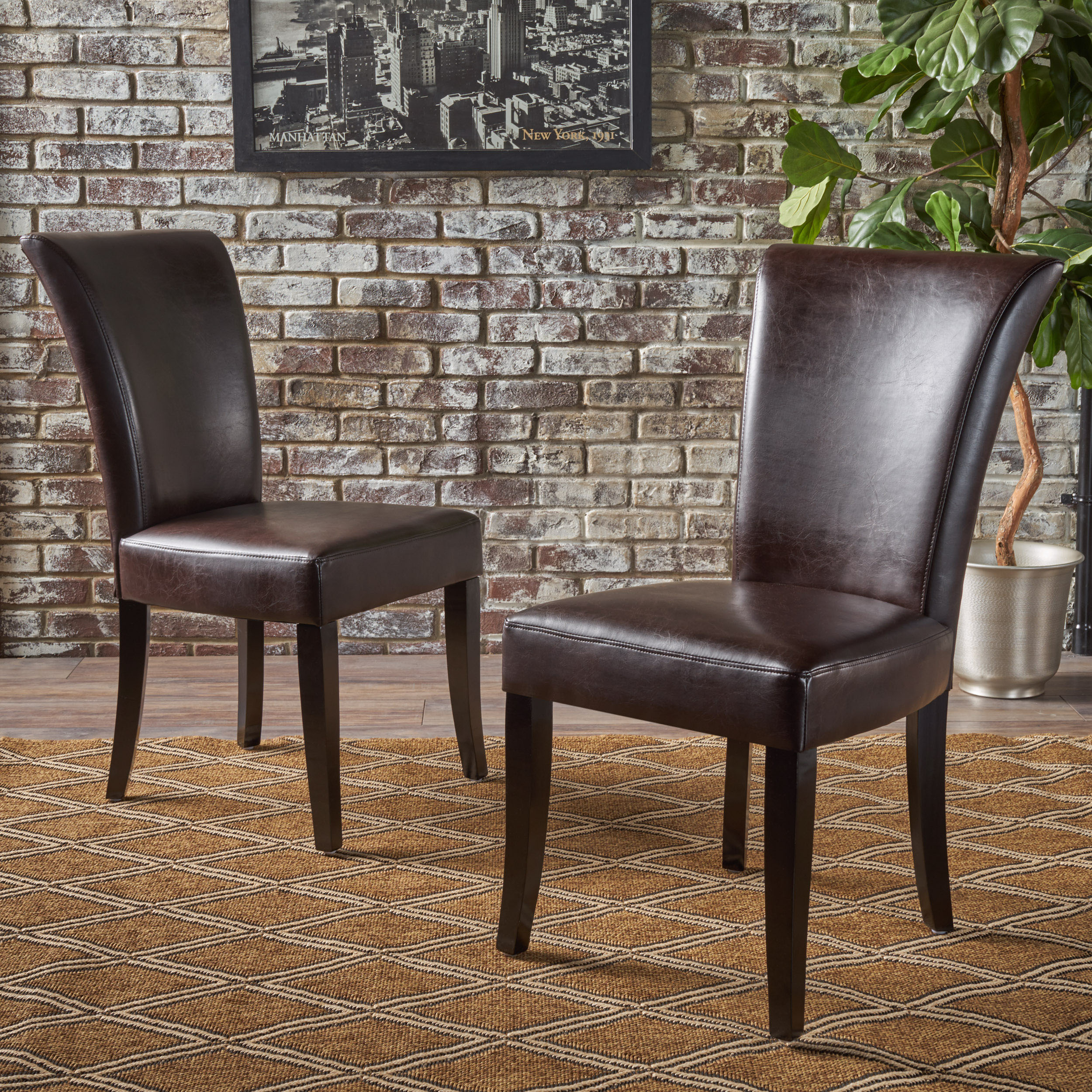 Martin Brown Leather Dining Chairs (Set of 2)