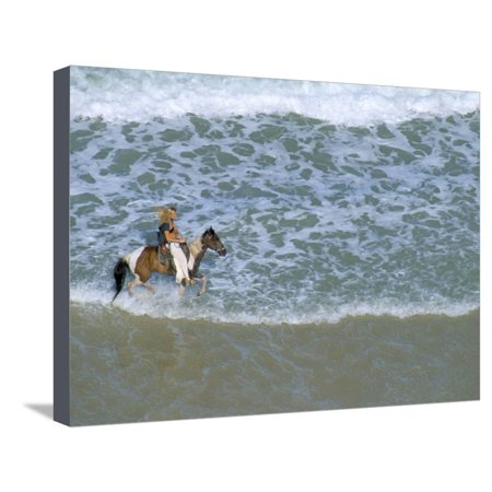 Beach Party Design Grande - Woman Riding Horse on the Beach, Tibau Do Sul, Natal, Rio Grande Do Norte State, Brazil Stretched Canvas Print Wall Art By Sergio Pitamitz