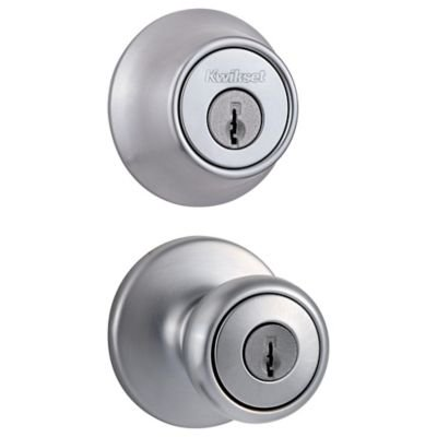 Kwikset 690 Tylo Keyed Entry Knob and Single Cylinder Deadbolt Combo Pack in Satin Chrome ()