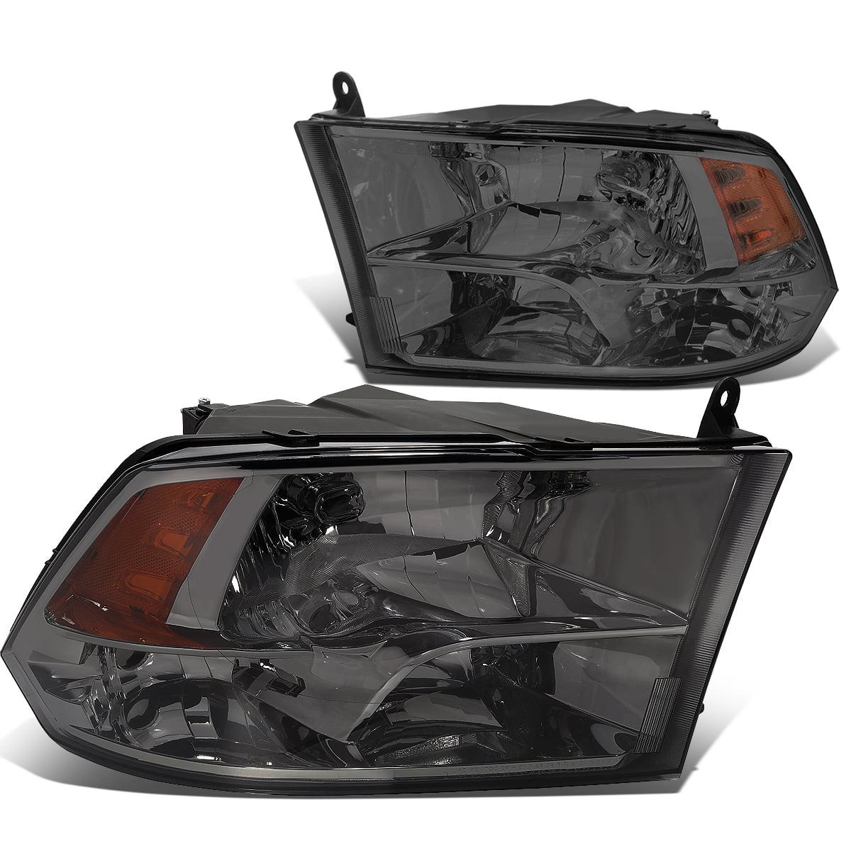 For 09-18 Dodge Ram Truck 1500/2500/3500 Pair of Headlight Smoked Housing Amber Corner Headamp - 4th Gen 10 11 12 13 14 15 16
