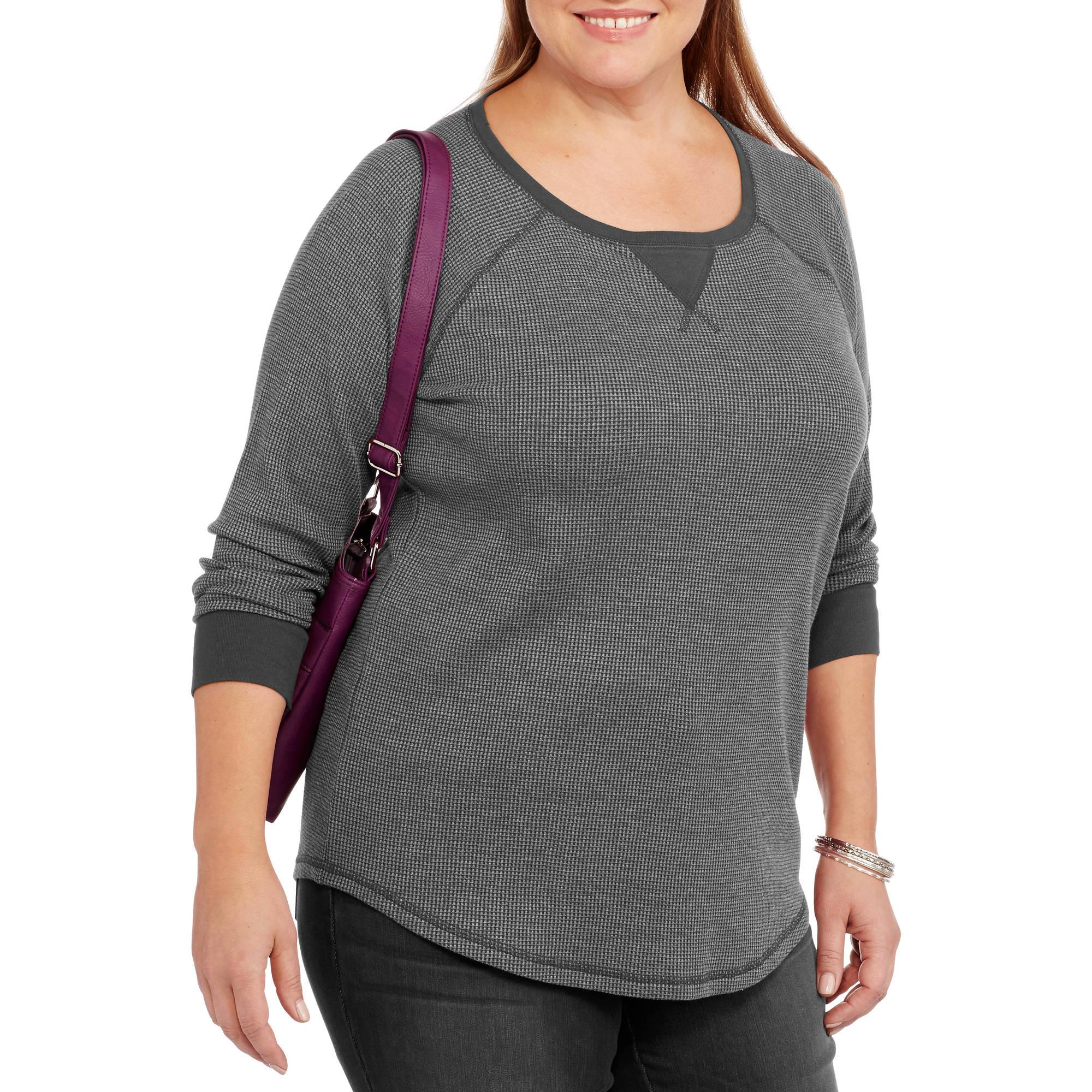 Faded Glory Women's Plus-Size Long Sleeve Raglan Thermal Tee