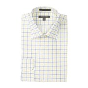 Nordstrom NEW Yellow White Mens Size 16 Plaid Printed Button Dress Shirt