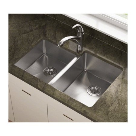 Polaris Sinks 31.25\'\' L x 20.5\'\' W Offset Double Bowl Stainless Steel  Undermount Kitchen Sink