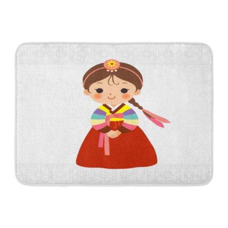 GODPOK Culture Cartoon Cute Little Girl in Korean Traditional Costume Child Hanbok Rug Doormat Bath Mat 23.6x15.7 inch ()