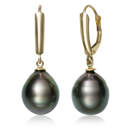 10-11mm Tahitian Black Pearl 14kt Yellow Gold Drop Dangle Earrings