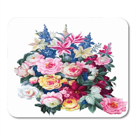 LADDKE Drawing Watercolor Flowers Bring Pure and Fresh Sense The Leaves and Design Blossom Gouache Mousepad Mouse Pad Mouse Mat 9x10 inch (Design Sense Inc)
