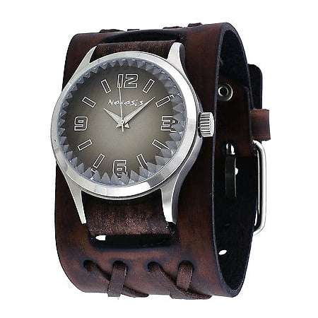 DXBB217K Men's Pointium Faceted Crystal Gradient Black Dial Wide Double X Leather Band Watch