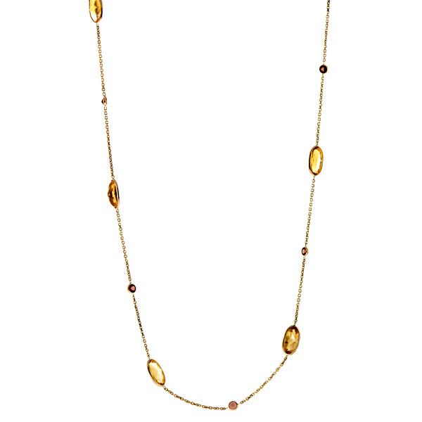 """14k Yellow Gold Citrine & Garnet Gemstones Chain Necklace 18"""" by"""