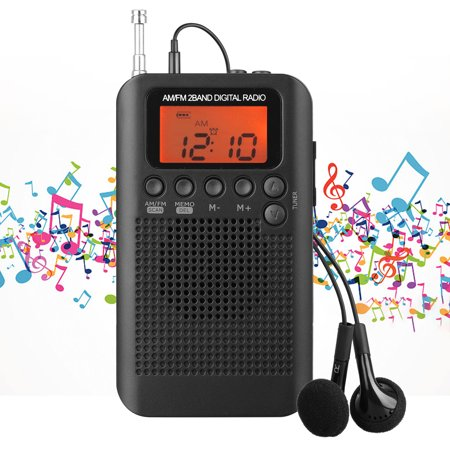 EEEkit Portable Pocket AM FM Radio - Small Radio with Alarm Clock and Sleep Timer,  for Walking Jogging Gym
