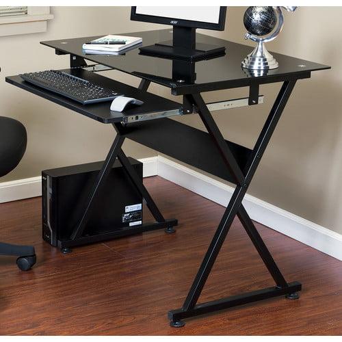 Onespace 50 Jn1205 Ultramodern Glass Computer Desk With Pull Out Keyboard Tray Black Walmart Com Walmart Com