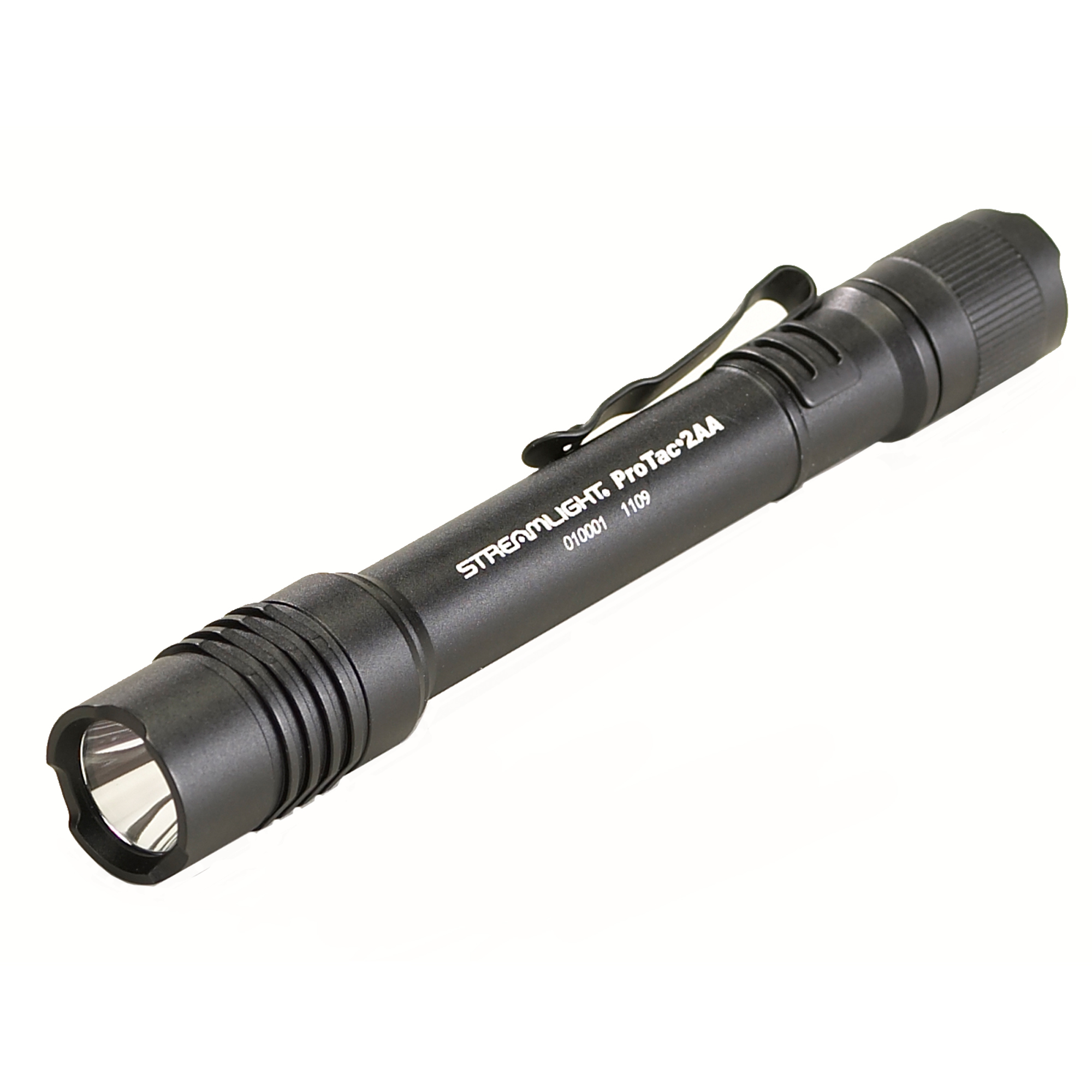 Streamlight Black ProTac Professional Tactical Flashlight With Removable Pocket Clip (2 AA Alkaline Batteries Included) by Streamlight