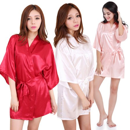Womens Robe Nightwear Letters Emulation Silk Bathrobe Bridesmaid Wedding Kimono (Personalized Wedding Robes)