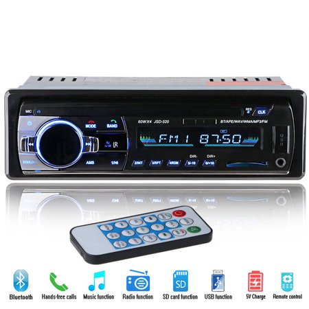 2018 New 12V Car Stereo FM Radio MP3 Audio Player Support Bluetooth Phone with USB/SD MMC Port Car Electronics In-Dash 1 DIN ()