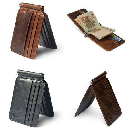 Money Clip Full Grain Cowhide (Men's Cowhide Leather Bifold Slim Wallet ID Credit Card Money Clip Holder)