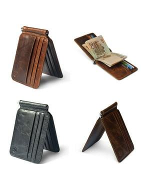 Men's Cowhide Leather Bifold Slim Wallet ID Credit Card Money Clip Holder Purse