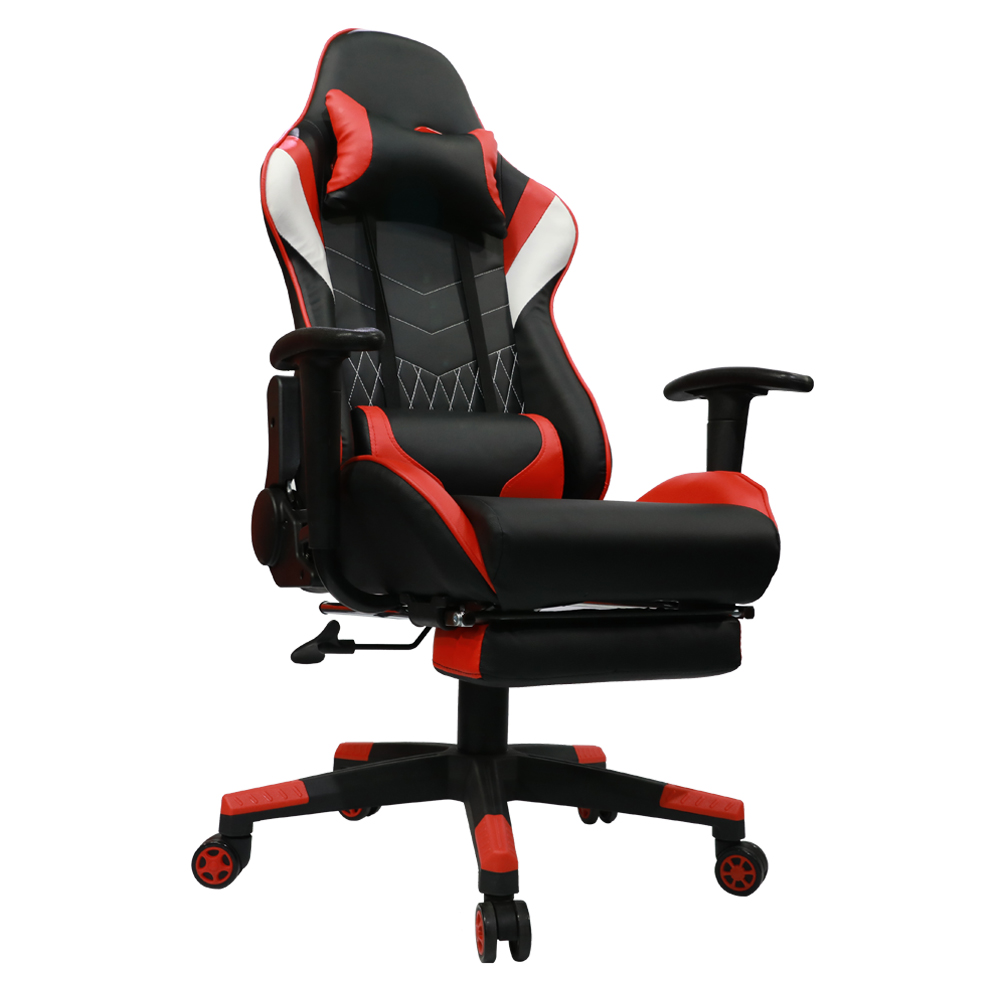 Kinsal Gaming Chair with Footrest High-back Computer Chair, Ergonomic Racing Chair, Leather Premium Swivel Executive Office Chair Including Headrest and Lumbar Pillow (Black/Red)