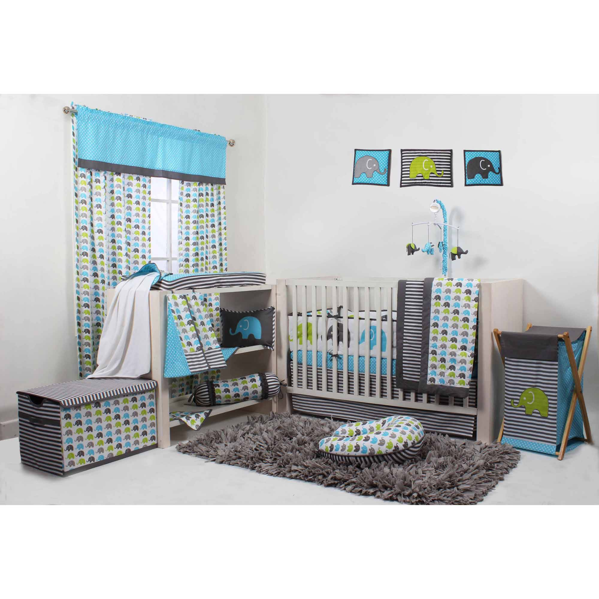 Bacati Elephants Aqua/Lime/Grey 10-Piece Crib Set with Bumper Pad for US standard Cribs