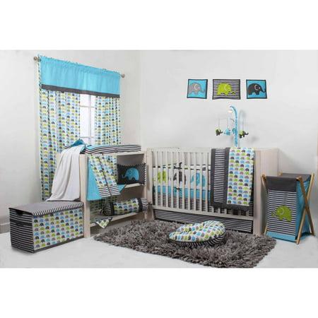 Elephants Aqua/Lime/Grey Crib Bedding Collection