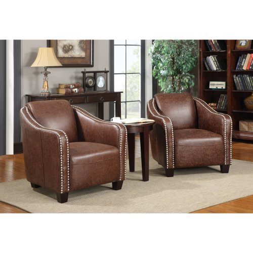 Emerald Home Douglas Accent Chair with Nail Head Trim - Brown