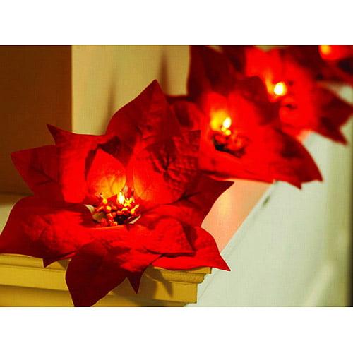 Poinsettia Christmas Light Set, 10 Count