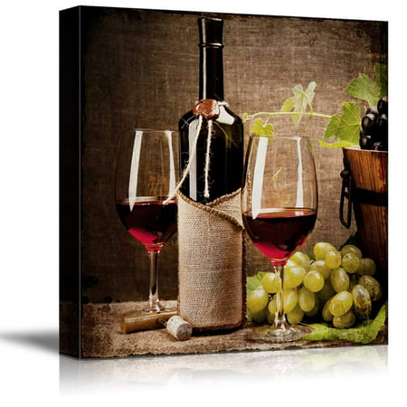wall26 - Square Canvas Wall Art - Glasses of Wine with Wine Bottle and Grapes - Giclee Print Gallery Wrap Modern Home Decor Ready to Hang - 24x24 inches (Grape Decor)
