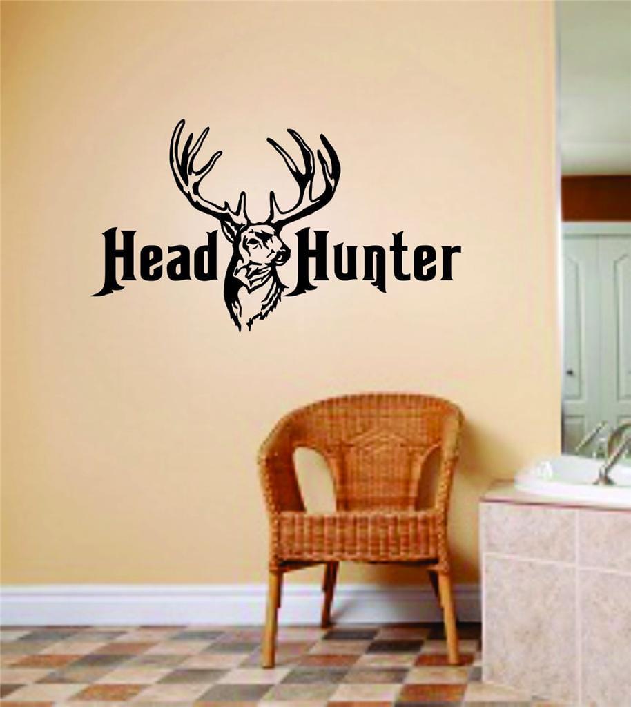 Custom Wall Decal Head Hunter Deer Buck Image Animal Hunting Hunter picture Art Boys Men Sticker Vinyl Wall Decal 10 X 20 Inches