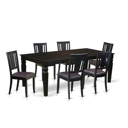 Dining Room Set with One Logan Table & 6 Faux Leather Upholstery Chairs, Elegant Black - 7 Piece