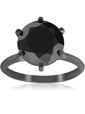 Large 5 1/2ct Genuine Black Diamond Solitaire Engagement Ring Black Gold Treated