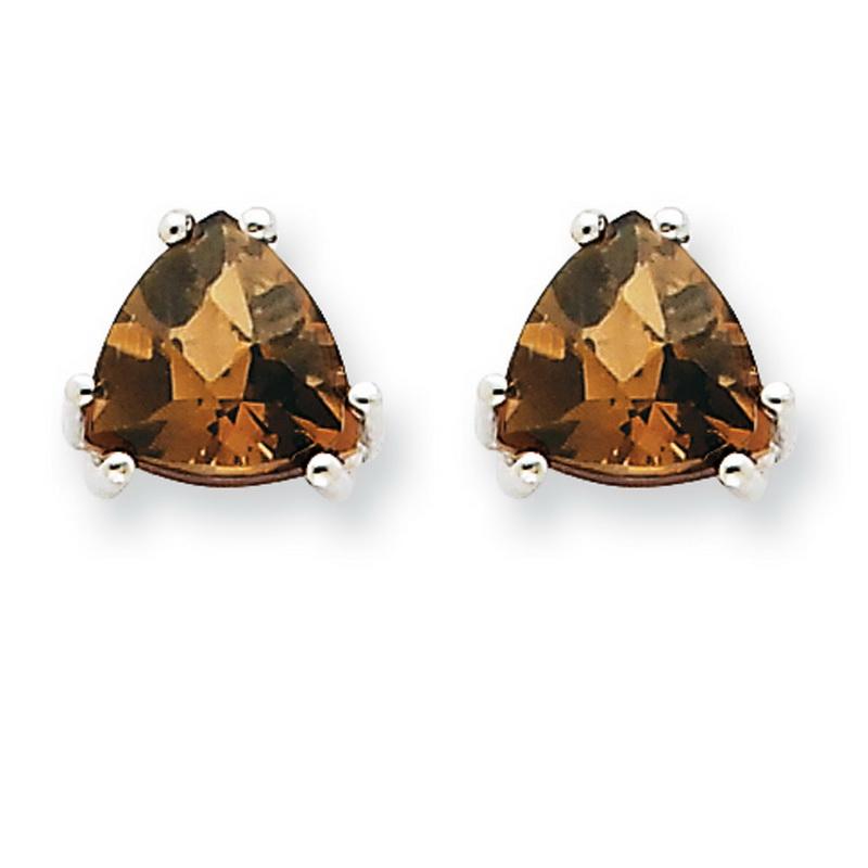 14k White Gold 7mm Trillion Smokey Quartz Earrings - 2.20 cwt