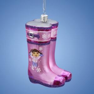 4 Inch Dora the Explorer Rain Boots Glass Ornament (Boot Glasses)