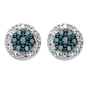 Blue Diamond Stud Earrings