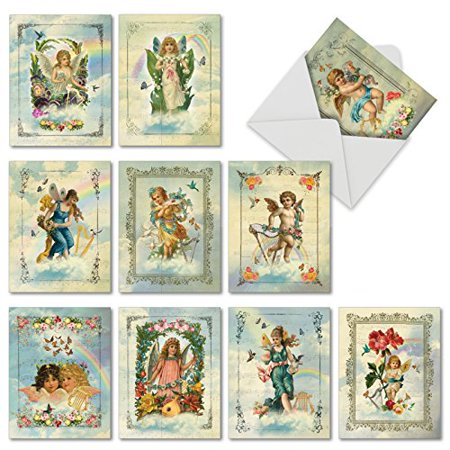 'M6446TYG ANGELIC NOTES' 10 Assorted Thank You Notecards Featuring Heavenly Angels Beautifully Framed With Flowers Musical Instruments and Birds with Envelopes by The Best Card Company