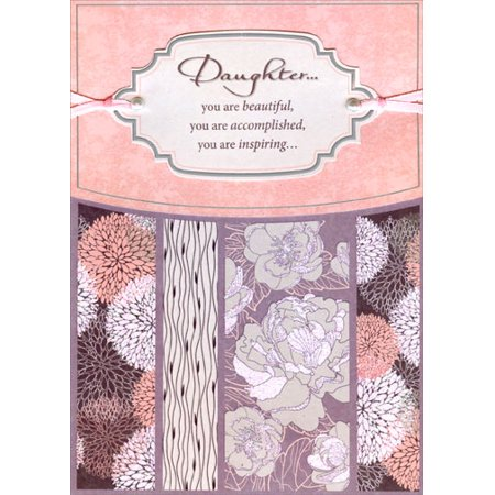 Designer Greetings Sparkling Floral with Tip On Banner on Pink, Ribbons and Gems Handmade: Daughter Birthday -