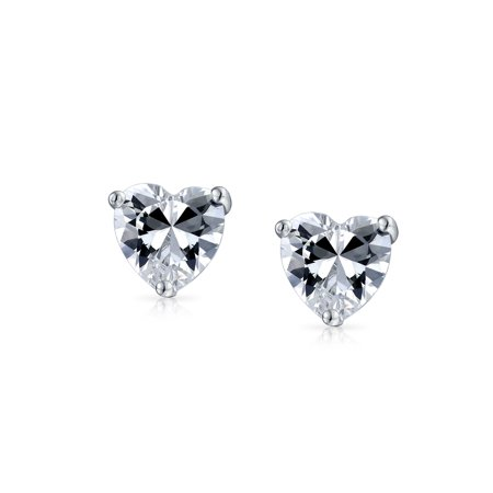 d8fa54e7dd3bb .75CT Cubic Zirconia Heart Shaped CZ Solitaire Stud Earrings For Women For  Girlfriend 925 Sterling Silver 6MM