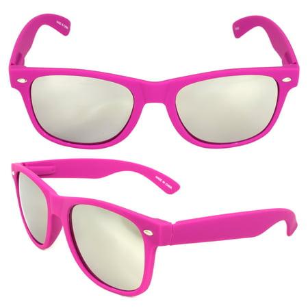 Stylish Retro Horn Rimmed Sunglasses Purple Frame Mirror Lenses for Women and Men - Purple Sunglasses Cheap