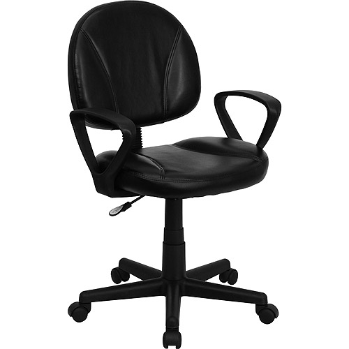 Leather Ergonomic Task Chair with Arms & Adjustable Seat, Black