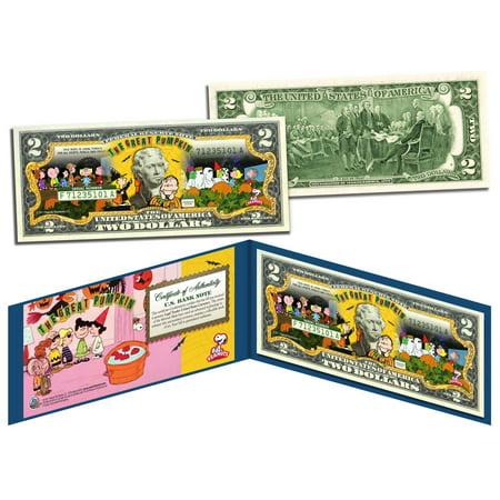 Charlie Brown Halloween Birthday Party (PEANUTS Charlie Brown HALLOWEEN Linus THE GREAT PUMPKIN $2 Bill U.S. -)