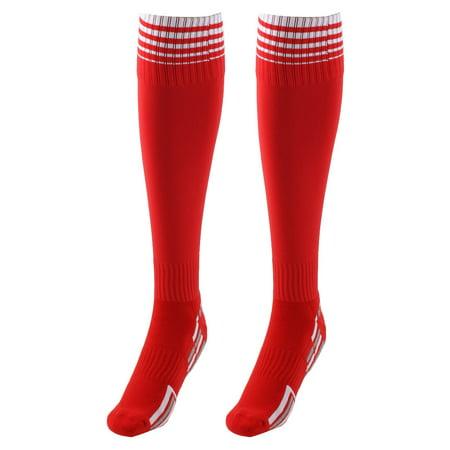 Unisex Nylon Anti Slip Stripe Pattern Football Soccer Sport Long Socks Red Pair](Red And White Long Socks)