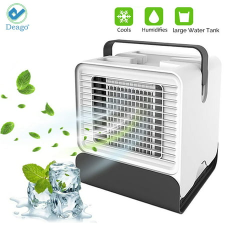 Deago Portable Air Conditioner Fan, Mini Desktop Fans Quiet Personal Misting Evaporative Air Cooler Circulator Humidifier for Office Dorm Nightstand