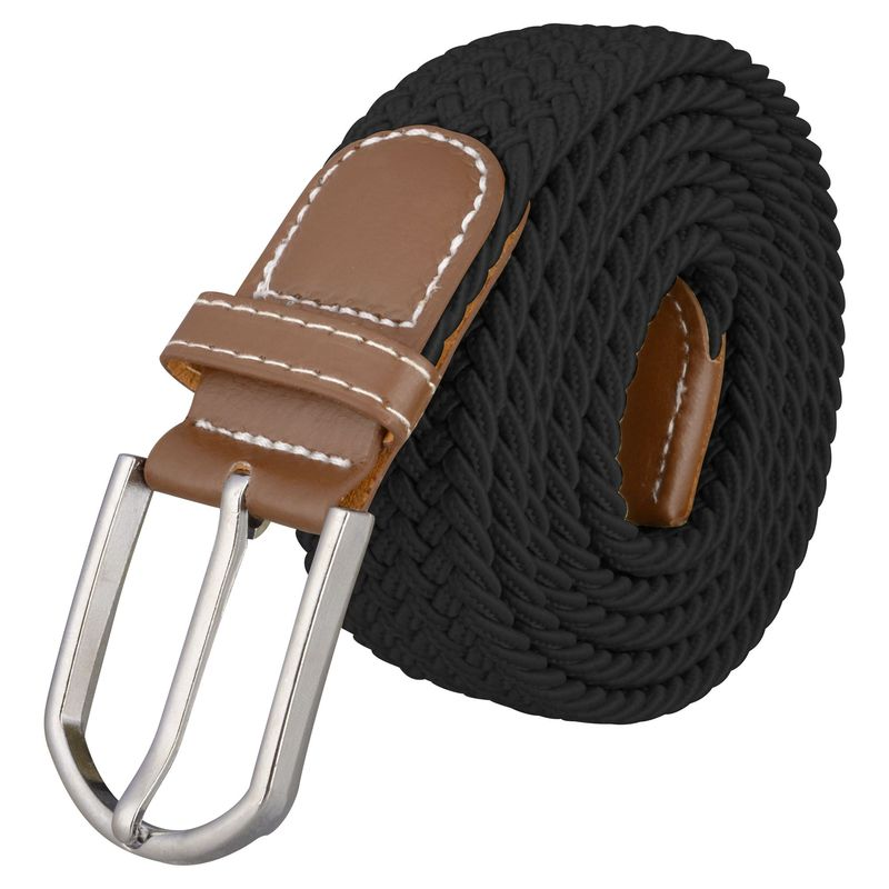 Zodaca Black Size S Premium Leather Golf Wide Mens Elastic Stretch Belt - Stylish Casual Fashion