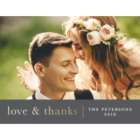 Personalized Wedding Thank You Postcard - Love & Thanks - 4.25 x 5.5 Flat Deluxe