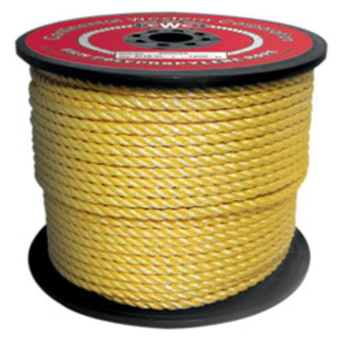 "CWC 3-Strand Polypropylene Rope - 3/16"" x 600 ft., Yellow"