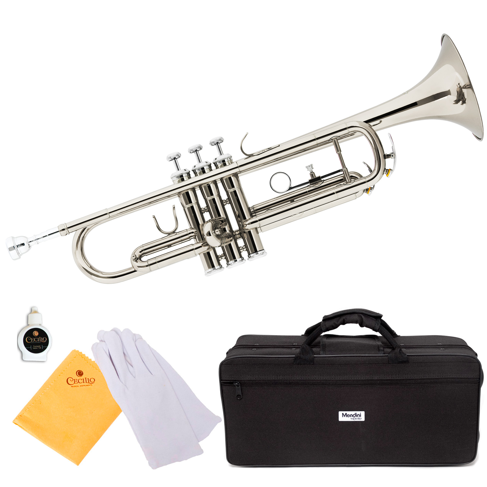 Mendini by Cecilio MTT-N Silver Nickel Plated Bb Trumpet with Durable Deluxe Case and 1 Year Warranty
