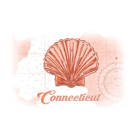 Connecticut - Scallop Shell - Coral - Coastal Icon Print Wall Art By Lantern (Best Coastal Towns In Connecticut)