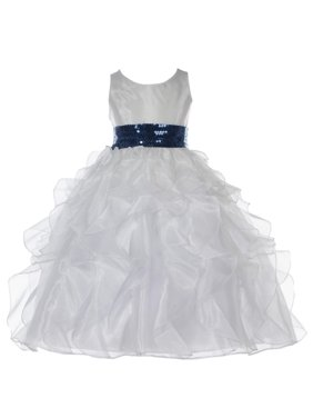 12388b2427e6 Product Image Ekidsbridal Ivory Ruffled Organza Flower Girl Dress Sequin  Junior Bridesmaid Wedding Pageant Toddler Recital Easter Holiday