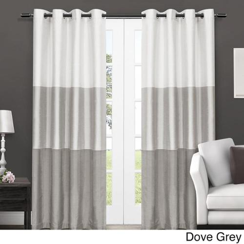 Chateau Striped Faux Silk Grommet Top 84-inch Curtain Panel Pair Dove Grey 84-Inch